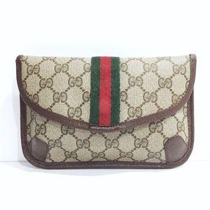 Gucci vintage monogram Italian stripe clutch bag